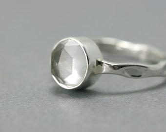 Crystal Gemstone Ring - Crystal Quartz Silver Ring - Sterling Silver April Birthstone Ring - Crystal Quartz April Birthstone Ring