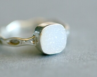 April Birthstone Ring - Druzy Gemstone Ring - Silver Druzy Ring - Dainty Gemstone Silver Ring - White Druzy Ring - Gemstone Ring