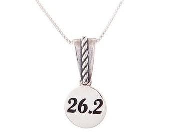 Running Jewelry - Marathon 26.2 Charm on Scroll Bail - Necklace