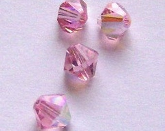 Swarovski Elements Crystal Beads BICONE  crystal beads Light Rose AB -- Available in 4mm and 6mm