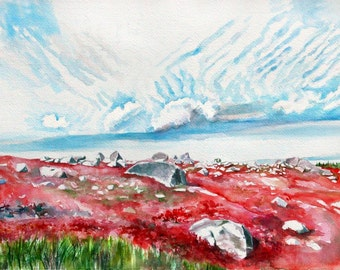 Watercolor, print from original painting, Blueberry Fields in Autumn, watercolor painting. Landscape ART.