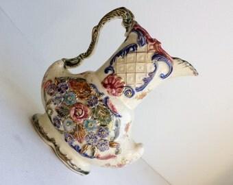 Vintage Ceramic Floral Etched Decorative Vase 1940s