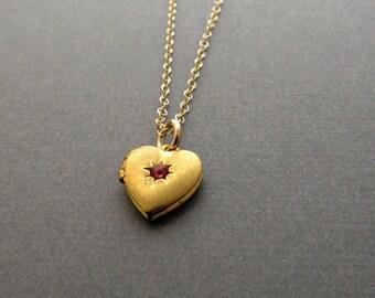 Gold Heart Locket, Heart Locket Necklace, Small Locket, Vintage Heart, Pink Rhinestone, Valentine Gift