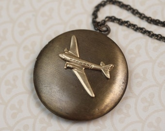 Airplane Locket Necklace, Plane Pendant, Long Unique Necklace, Dark Vintage Flight Locket, Gold Jewellery, Men's Locket, Unisex jewelry