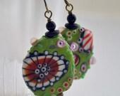 Abstract Earrings, Red Green Earrings, Lampwork Glass Earrings, Whimsical Earrings