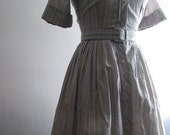 Vintage 1950s Shirtwaist Dress - Grey, Pink, and Yellow Striped Cotton