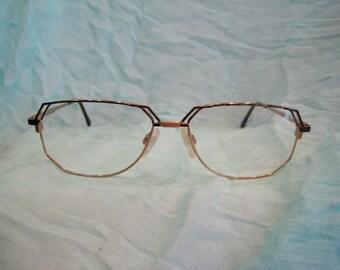 Vintage 1990's Cazal Vintage Titanium Eyeglasses in Gold Brown