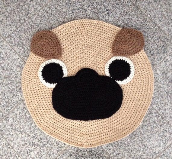 Free Crochet Pug Rug Pattern : Items similar to Crochet Pug rug on Etsy
