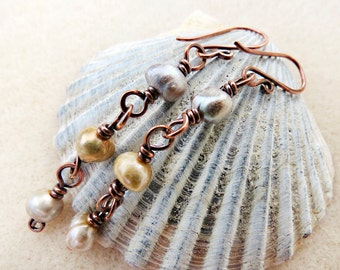 Rustic Freshwater Pearl Earrings, Hand Wire Wrapped, Oxidized Forged Pure Copper, Neutral, Taupe, Gray, Gold, Handmade Earrings Jewelry