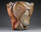 Tide Cycle - Stoneware, Soda Fired, Large Tumbler, Hand-carved, Oxides On Outside, Green Glaze Inside