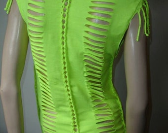 womens shredded tshirt. shredded braided fringed 80s neon yellow dayglow t shirt. womens size small/med. mens XS/small