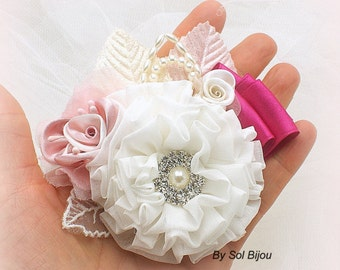 Corsage, Pink, Fuchsia, Ivory, Dusty Rose, Boutonniere, Groom, Mother of the Bride, Button Hole, Pearls, Crystals, Elegant, Vintage