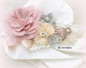 Sash, Vintage Wedding, Ivory, Rose, Blush, Gray, Lace, Pearls, Crystals, Floral, Satin, Maid of Honor, Elegant Wedding, Handmade Flowers