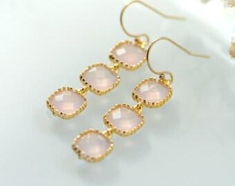 Pink chandelier earrings, Pink opal earrings, Pink earrings, pink and gold earrings, pink wedding, long earrings
