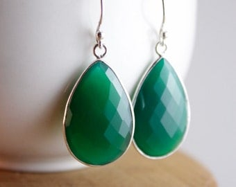 Silver Green and Blue Gemstone Teardrop Earrings - Choose Your Colour - 925 Silver