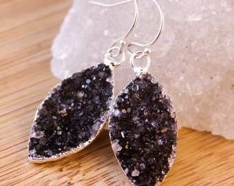 Black Druzy Leaf Earrings - Marquise Earrings - Leaf Jewelry