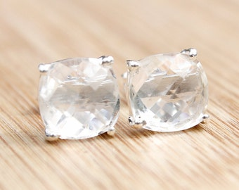 Clear Crystal Quartz Stud Earrings - April Birthstone - Posts Setting