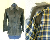 1940s suede jacket Olive green suede and leather with fab plaid checked lining Size S M