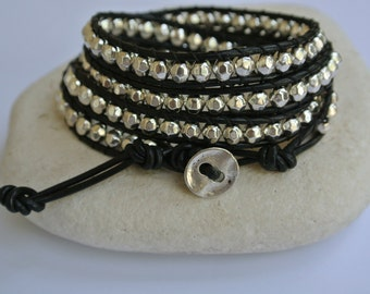 Silver Pewter Beaded Leather Wrap Bracelet