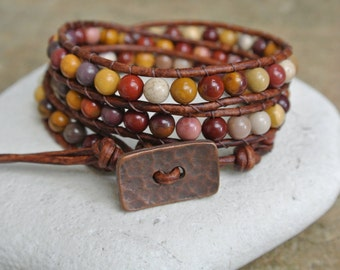 Dessert Sand Jasper Beaded Leather Wrap Bracelet