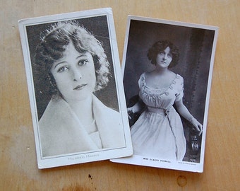 Vintage Pair of Photo Postcards Glamor Portrait of Actress Mildred Harris and Gladys Purnell of Film and Stage.