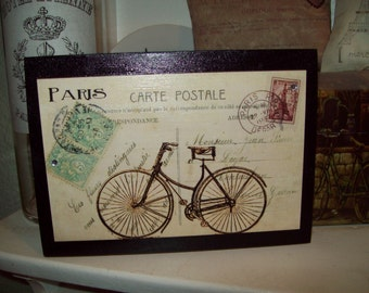 carte postale large bike shelf sitter plaque sign shabby chic paris decor french decor paris. Black Bedroom Furniture Sets. Home Design Ideas