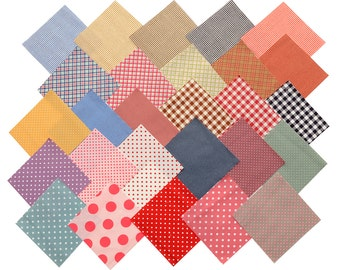 """Quilt 60 Charm Pack Pre-Cut 4x4"""" Fabric Square Polka Dot Gingham Multicolored"""