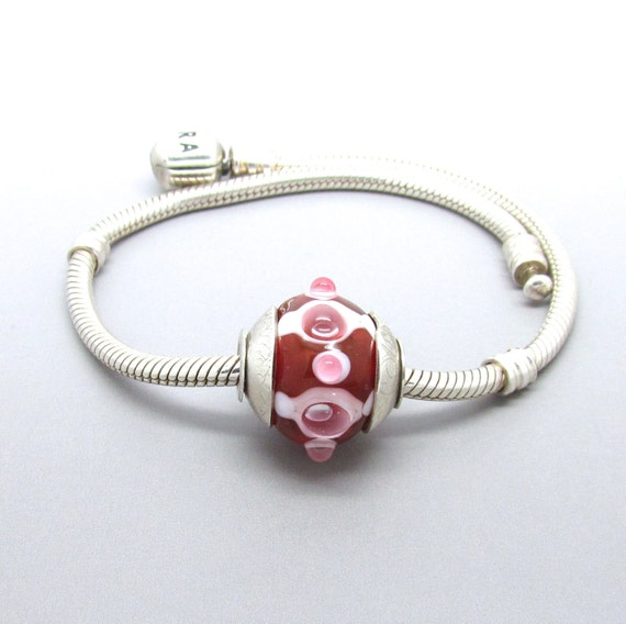 "Slight Second -  Lampwork Bead Big Hole BHB Silver Core FHFteam UK SRA - ""Pindarus"" Pink White Glass Round"