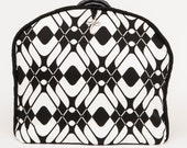 Tea Cozy / Cosy - Armani Fabric - Harlequin Black and White w/ Faux Leather Trim and Silver Embellishment