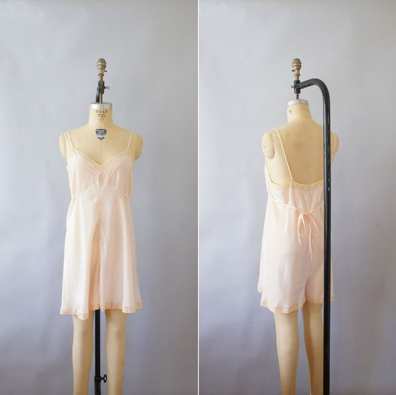 1930s step in chemise  / vintage 30s silk lingerie / Berry Branch