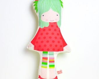 Spring doll in red and mint