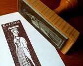 Personalized Kore Bookplate Stamp Ex Libris Stamp with wooden holder and free stamp pad