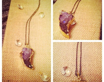 Gold Amethyst Crystal Long Necklace
