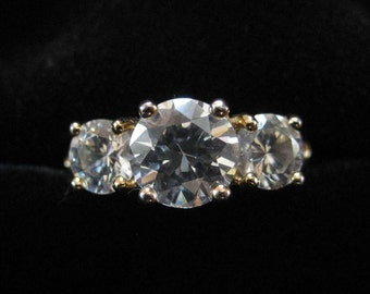 Sterling Silver CZ Ring, Gold Vermeil, Size 8