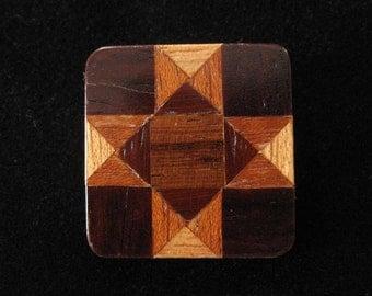 Miniature Wood Parquet Pattern Pin, Genuine Wood Inlay