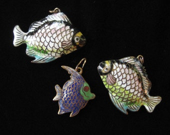 Threee Antique Enamel Fish Pendants, Cloisonne from China or Japan