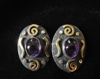Oxidized Sterling Silver Amethyst Button Earrings, Post Backs