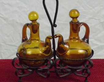 Vintage Amber Glass Cruet Set With Wrought Iron Holder