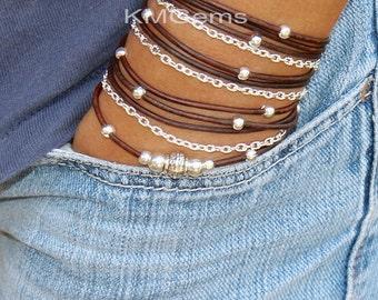 BOHO Leather Wrap Chain Bracelet CUSTOM  Adjustable Distressed Natural Leather Triple Wrap Bracelet w/ Silver Tibetan Style accents USA   89