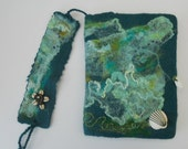 Wild Oceans - Journal Notebook Diary Art Recipes Cookbook Bookmark Hand Felted and Embroidered Gift under forty dollars
