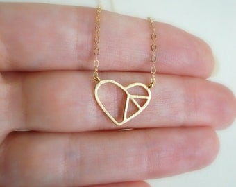 Gold Heart Necklace Gold Peace Sign Necklace, Gold Minimalist Necklace Layered Necklace Everyday Contemporary Jewelry