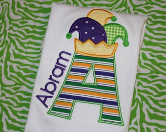 Mardi Gras jester hat initial tshirt or dress