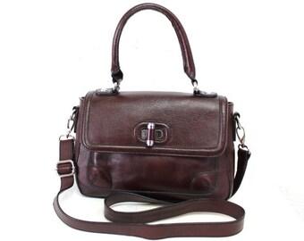 Etienne Aigner Bag Burgundy Leather Satchel messenger Shoulder Bag