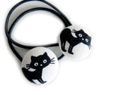 Button Ponytail Holders - Black Cats on White