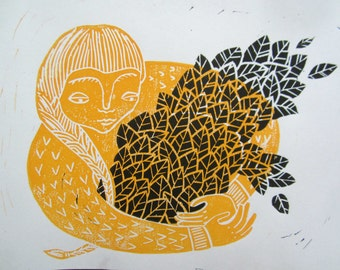 The Plant Keeper - a hand-carved linoleum block print.