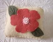 Primitive Flower Pincushion Wool Felt Penny Rug Style Applique