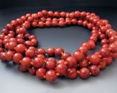 Long Red Beaded Coral Necklace / Sponge Coral Necklace /  60 Inches Long / Red Gemstone Necklace / Gifts for Her / Summer Jewelry