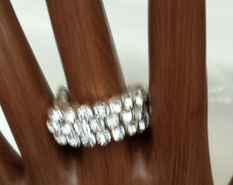 Crystal and Silver tone ring