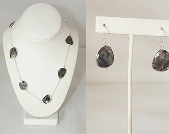 Bezel Set Faceted Labradorite Necklace & Earring Set with Silver Plated Chain and Hooks