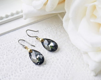 Black Silver Night Crystal Titanium Earrings Swarovski Pear Shape Gold Accent Metallic Simple Dangle Earrings